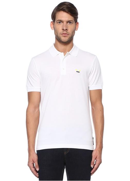 Beyaz Polo Yaka Neon Canavar Gözlü T-shirt