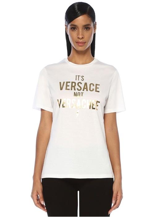 Beyaz Gold Yazı Baskılı T-shirt