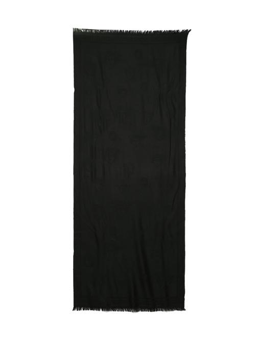 Siyah Logo Jakarlı Kadın Yün Şal