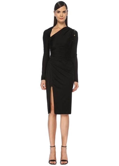 Siyah Asimetrik Yaka Detaylı Drapeli Midi Elbise