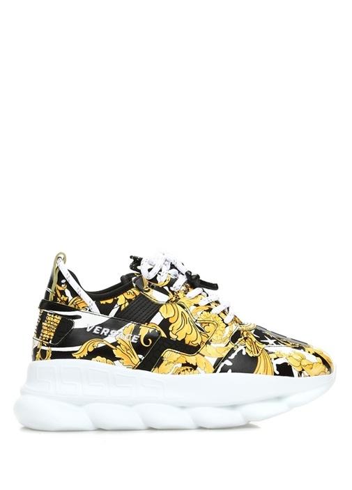 Siyah Sarı Barok Desenli Kadın Sneaker