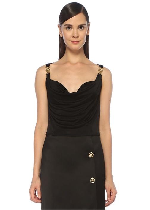Siyah Drapeli Gold Aksesuarlı Saten Bluz