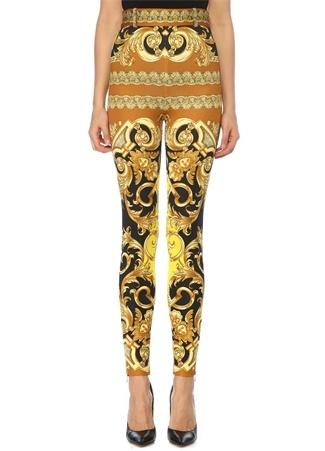 Gold Yüksek Bel Barok Desenli Dar Paça Pantolon