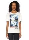 Beyaz Fotoğraf Baskılı Logo Nakışlı T-shirt