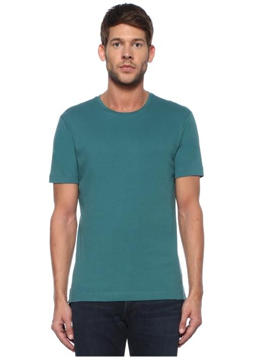 James Slim Fit Yeşil Bisiklet Yaka Basic T-shirt