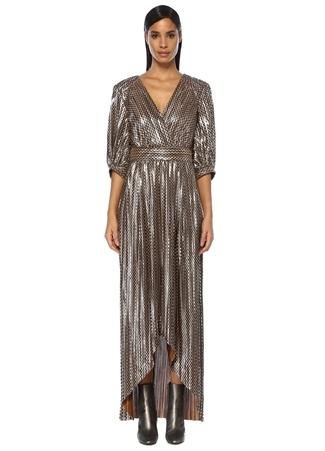 Ba&Sh Kadın Pacey Gold V Yaka Zikzak Desenli Maksi Elbise Altın Rengi 0 US