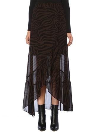 Ba&Sh Kadın Salvi Kahverengi Zebra Desenli Maksi Anvelop Etek Siyah US