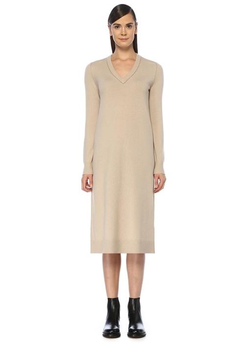 Tina Bej V Yaka Uzun Kol Midi Kaşmir Elbise