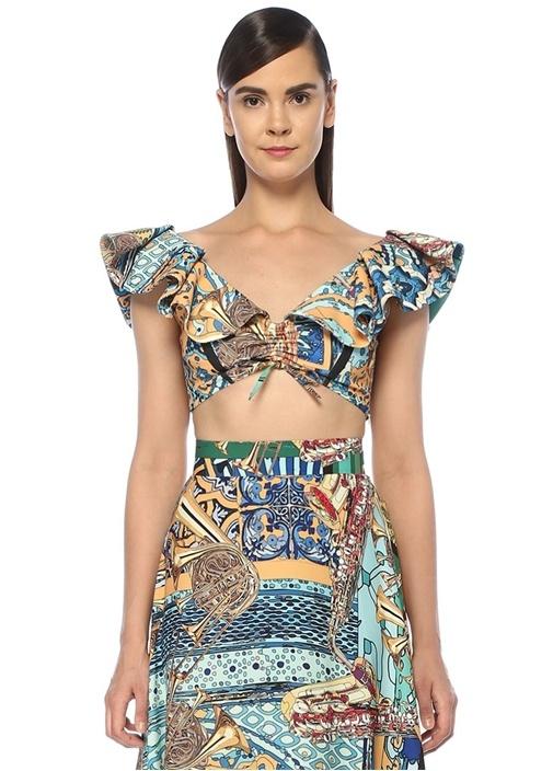 Marrakech Gold Desenli Volanlı Crop Bluz