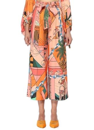 Palm Beli Kuşaklı Desenli Bol Paça Crop Pantolon