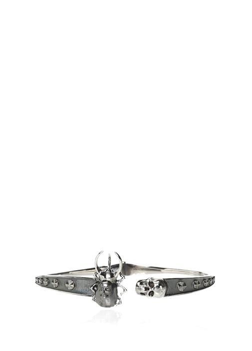Silver Kuru Kafa ve Böcek Formlu Erkek Bilezik