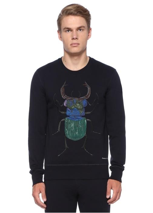 Lacivert Böcek İşlemeli Logo Nakışlı Sweatshirt