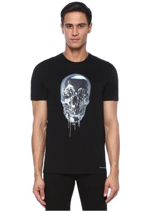 Siyah Kuru Kafa Baskılı Logolu Basic T-shirt