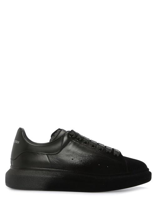 Oversize Siyah Kadife Garnili Erkek Deri Sneaker