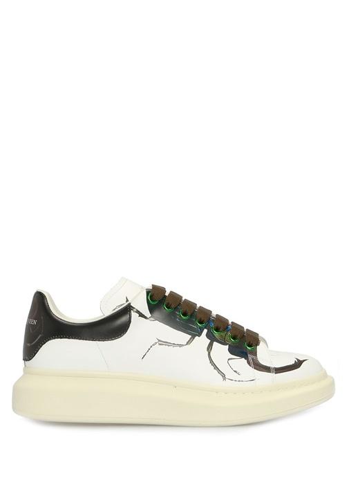 Oversize Beyaz Böcek Baskılı Erkek DeriSneaker