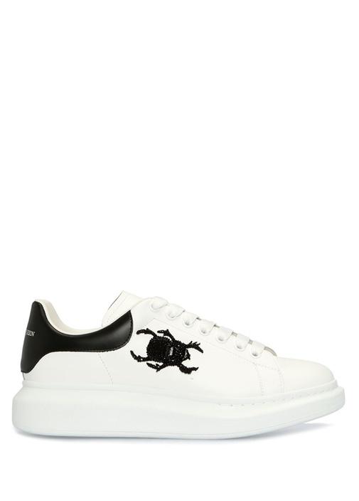 Oversize Beyaz Nakış Detaylı Erkek DeriSneaker