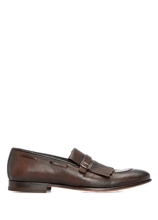 Kahverengi Püsküllü Kemerli Erkek Deri Ayakkabı