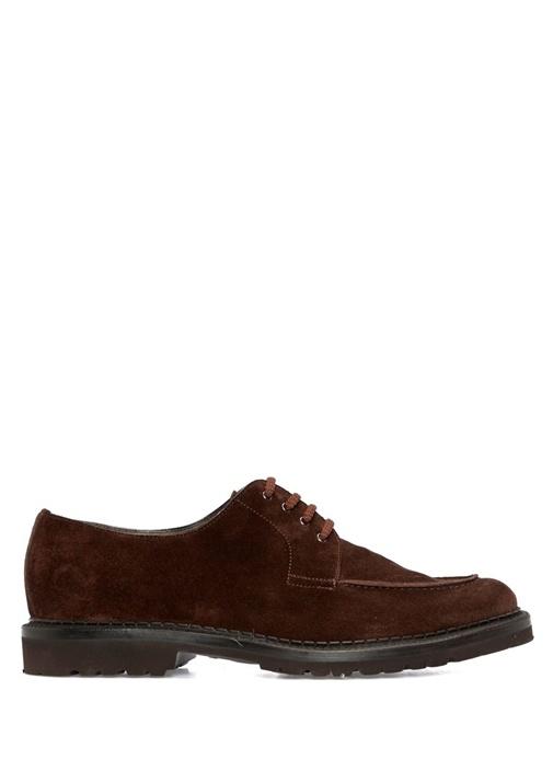 Kahverengi Dikiş Detaylı Erkek Nubuk Ayakkabı