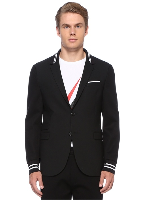 Slim Fit Siyah Yakası Kontrast Şerit Ribli Ceket