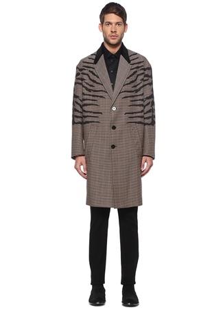 Neil Barrett Erkek Slim Fit Bej Kelebek Yaka Desenli Yün Palto Kahverengi 50 IT male