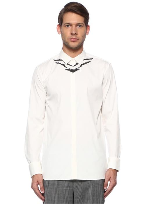 Slim Fit Beyaz Yakası Zebra Desenli Gömlek