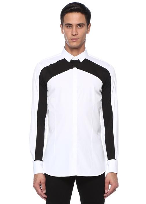 Slim Fit Siyah Beyaz İngiliz Yaka Garnili Gömlek