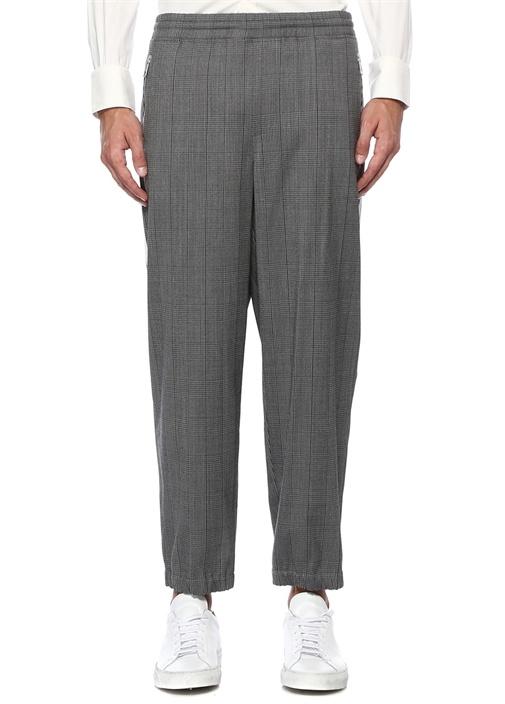 Gri Mikro Kazayağı Desenli Şeritli Pantolon