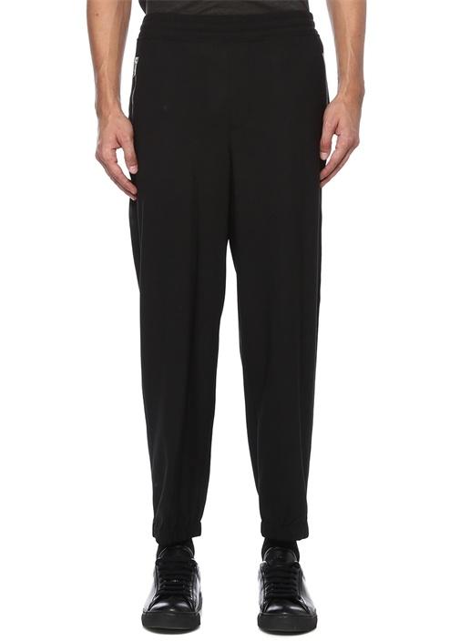 Siyah Beli Kordonlu Şeritli Dar Paça Pantolon