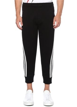 Siyah Beyaz Kontrast Şeritli Jogger Pantolon