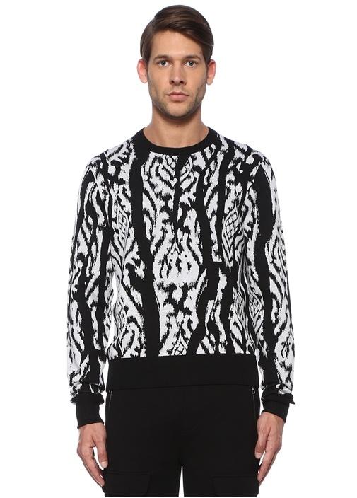 Siyah Beyaz Zebra Desen Jakarlı Kazak