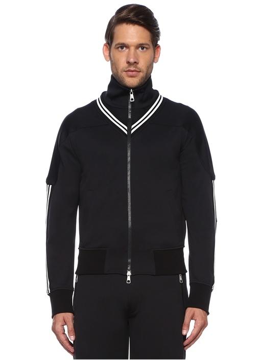 Siyah Dik Yaka Kontrast Şeritli Sweatshirt