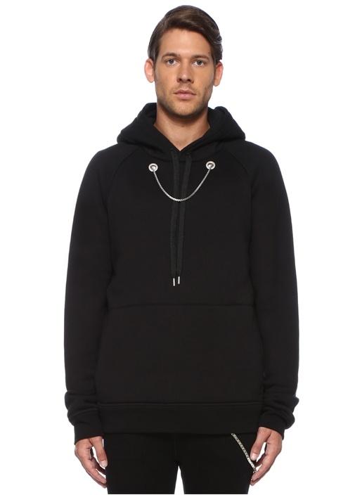 Siyah Kapüşonlu Sallantılı Zincirli Sweatshirt