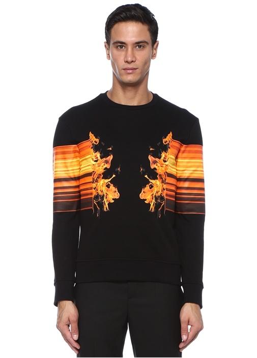 Siyah Bisiklet Yaka Ateş Baskılı Sweatshirt