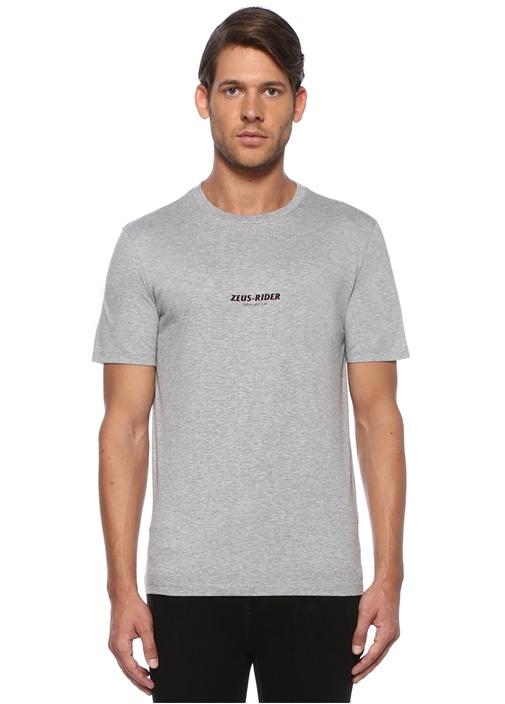 Gri Melanj Motor Baskılı Basic T-shirt