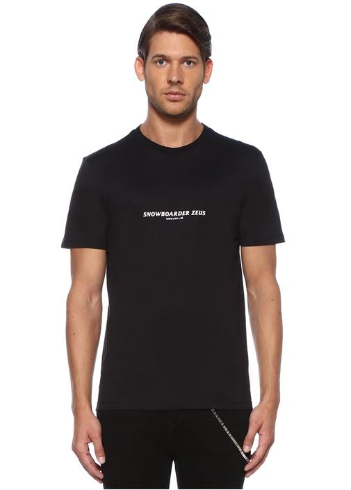 Snowboarder Zeus Siyah Baskılı T-shirt