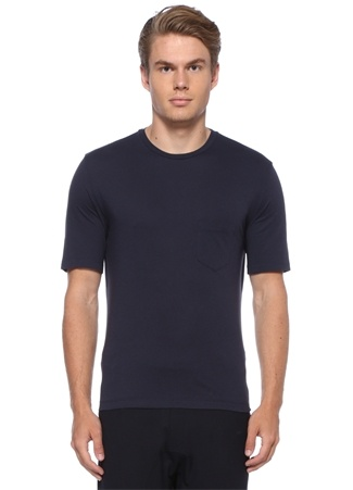 Lacivert Bisiklet Yaka Cepli Basic T-shirt
