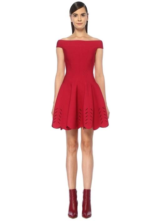Kırmızı Omzu Açık Lazer Kesim Mini Triko Elbise