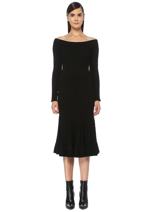Siyah Kayık Yaka Uzun Kol Midi Triko Elbise