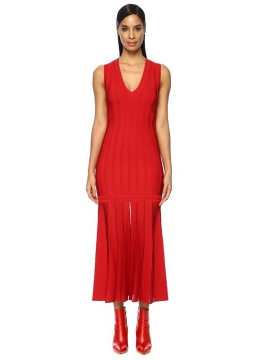 Kırmızı Volanlı Çizgi Dokulu Midi Triko Elbise