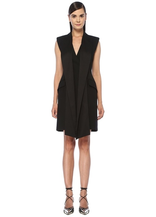 Siyah Drape Detaylı Kruvaze Mini Kokteyl Elbise