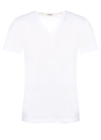 Zimmerli Erkek Beyaz V Yaka Basic T-shirt L EU male