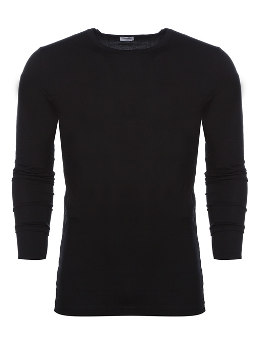 Siyah Bisiklet Yaka Uzun Kollu T-shirt