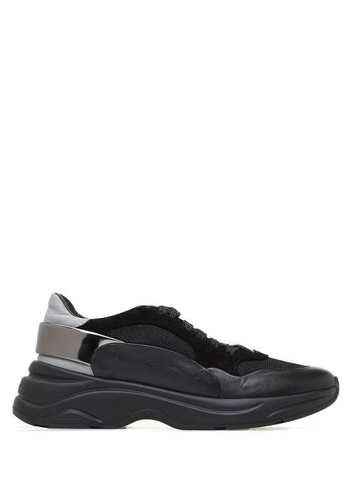 Siyah File Doku Detaylı Kadın Deri Sneaker