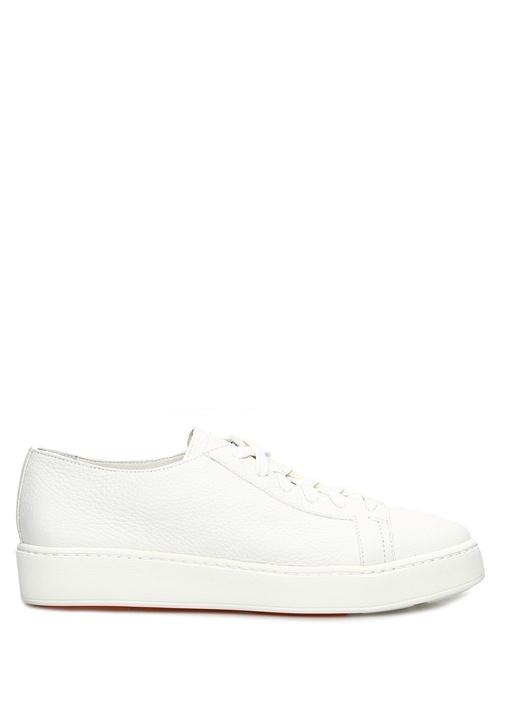 Beyaz Logolu Dokulu Kadın Deri Sneaker