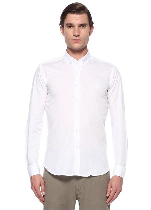 Slim Fit Beyaz Düğmeli Yaka Mikro Desenli Gömlek