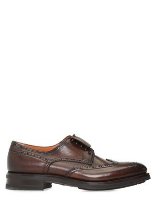 Santoni Erkek Kahverengi Delikli Deri Ayakkabı 6.5 UK male