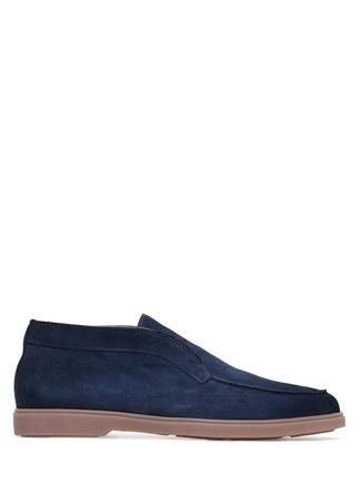 Santoni Erkek Lacivert Dikiş Detaylı Nubuk Ayakkabı 7 UK male