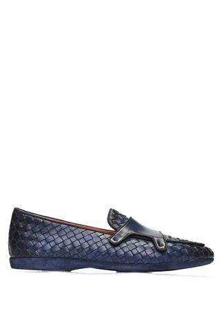 Santoni Erkek Lacivert Örgü Dokulu Deri Loafer UK male 10