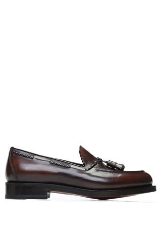 Santoni Erkek Kahverengi Püskül Detaylı Deri Loafer 9 UK male