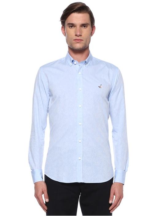 Slim Fit Mavi Silik Şal Desenli Gömlek
